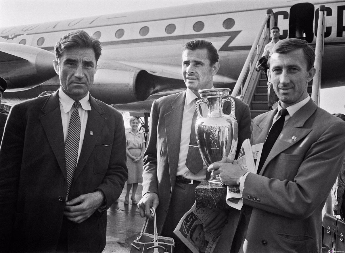 Старостин, Яшин и Нетто с кубком европы 1960 года